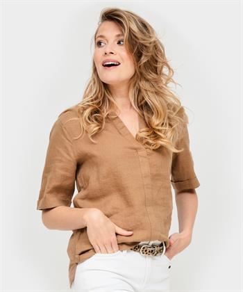 BeOne blouse linnen/sweat