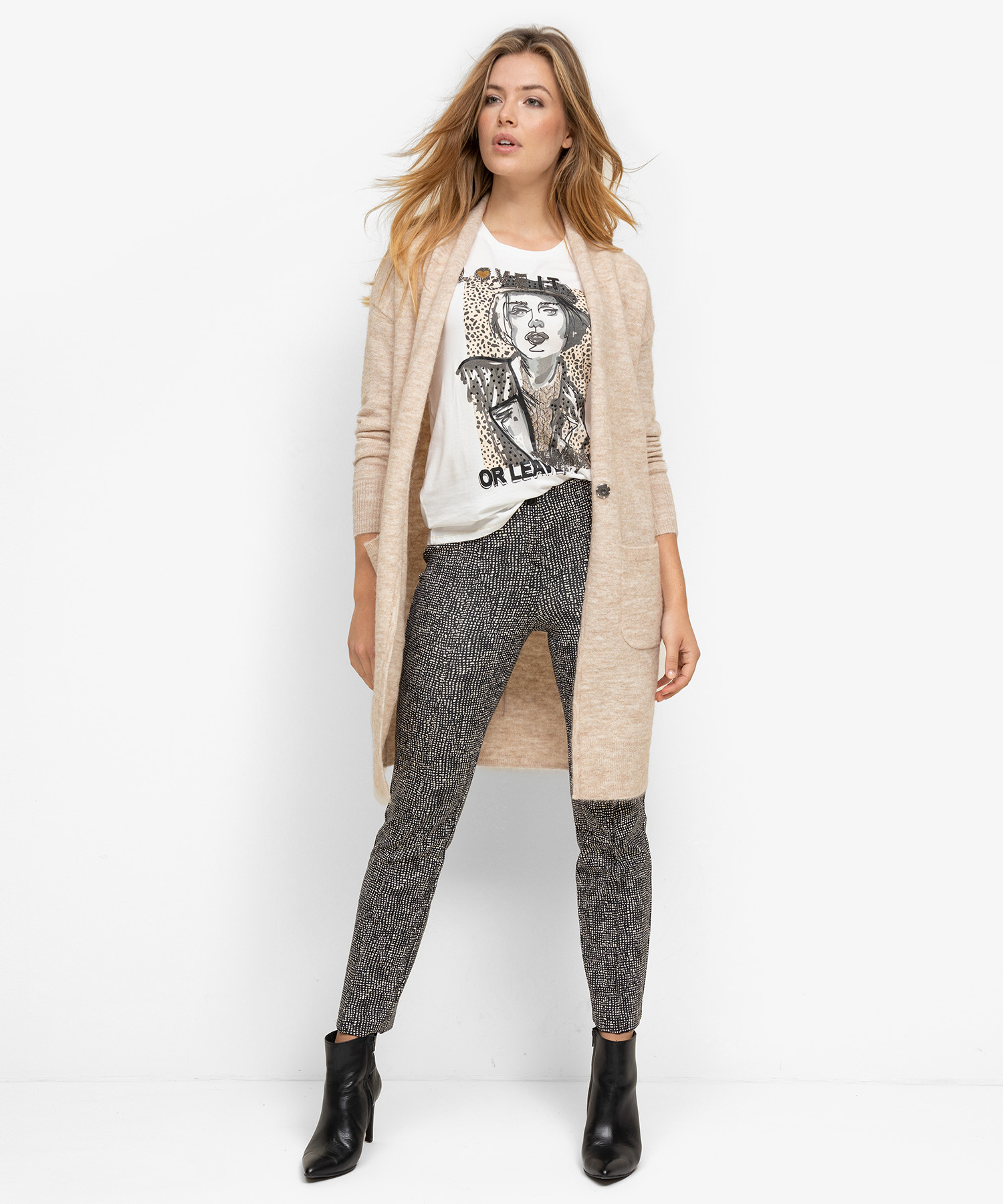 Cambio Ranee tweed jacquard pantalon
