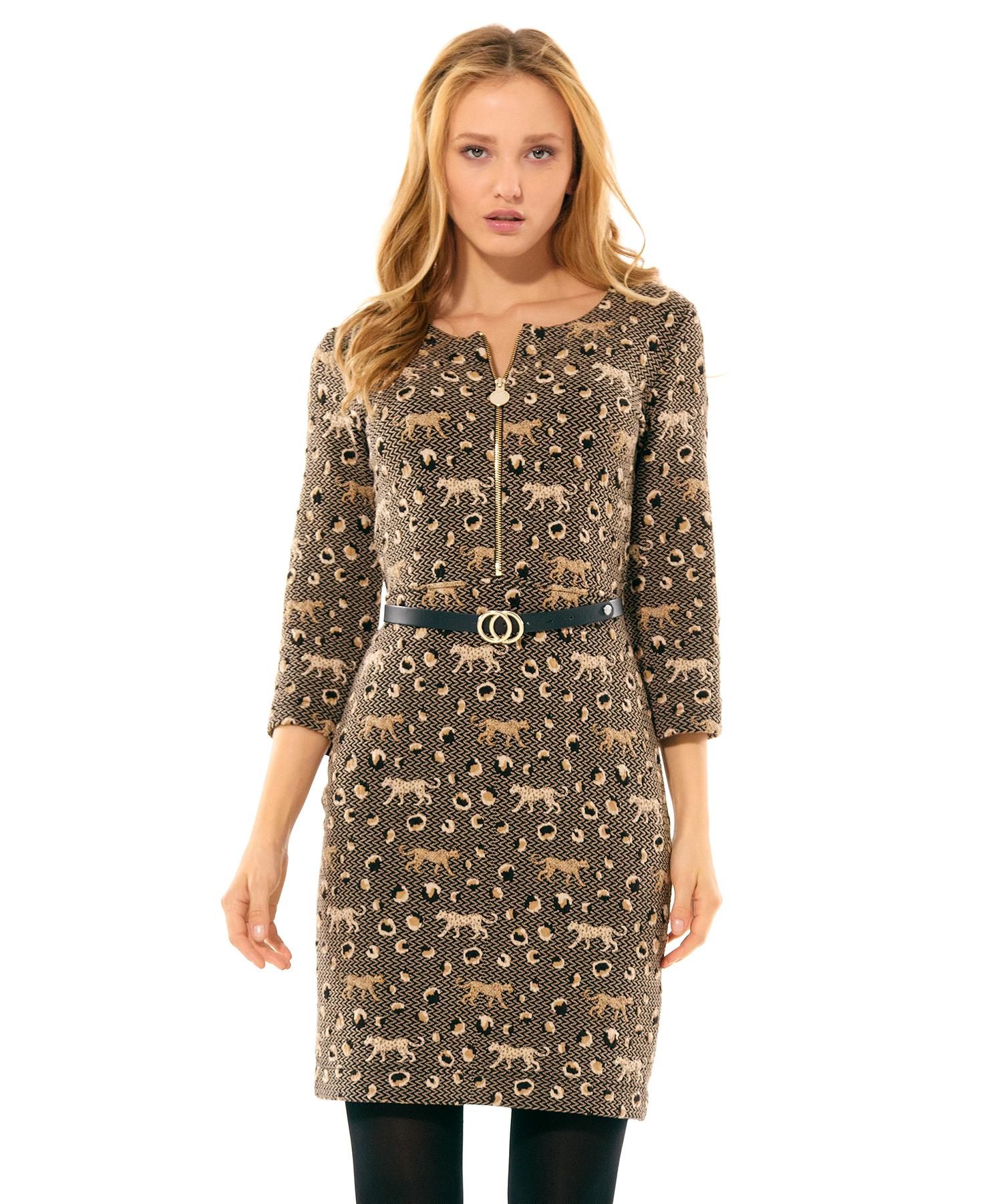 Caroline Biss jurk luipaard jacquard