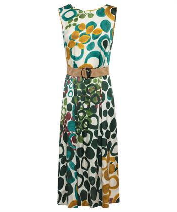 Caroline Biss jurk met raffia riem