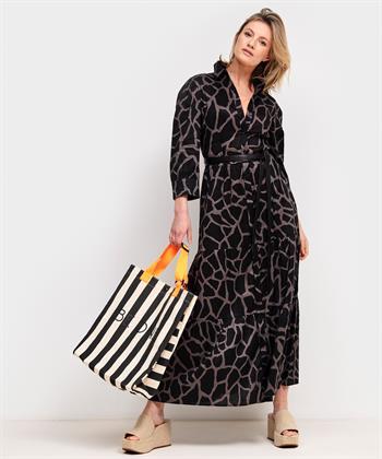 Marc Cain linnen maxi-jurk giraffe print