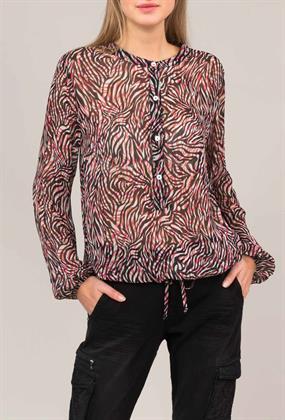 Summum transparante blouse zebraprint