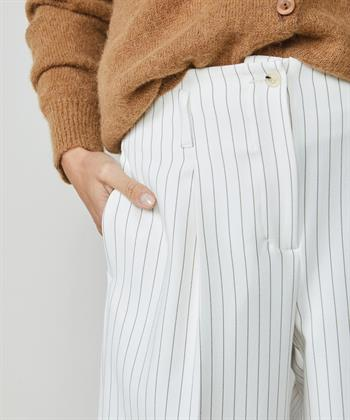 Trousers wide leg structured pinstripe