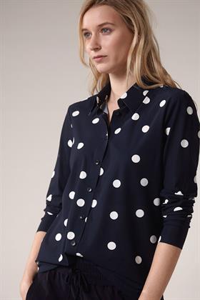 Trvl Drss blauwe blouse dots