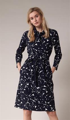 Trvl Drss blauwe polo jurk bloem